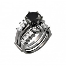 Wholesale Sterling Silver 925 Black Rhodium Plated Black Center Clear Baguette Marquise CZ Ring - STR00757BLK