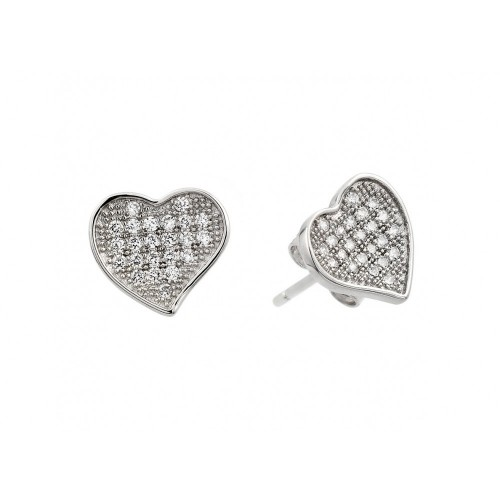 Wholesale Sterling Silver 925 Rhodium Plated Heart CZ Inlay Stud Earrings - BGE00266