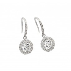 Sterling Silver Rhodioum Plated Round Center CZ Hook Earring BGE00292