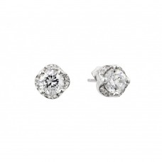 Wholesale Sterling Silver 925 Rhodium Plated Round Clear CZ Stud Earrings - BGE00415