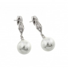 Wholesale Sterling Silver 925 Rhodium Plated CZ Dangling Pearl Stud Earrings - BGE00419