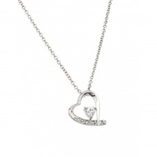 Sterling Silver Clear CZ Rhodium Plated Heart Pendant Necklace - BGP00133