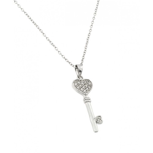 Wholesale Sterling Silver 925 Rhodium Plated Heart Key CZ Necklace - BGP00362
