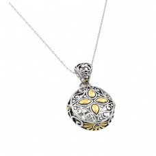 Sterling Silver Gold and Rhodium Plated Round Center Yellow Flower CZ Necklace - BGP00446