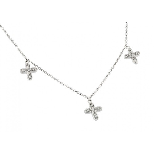 **Closeout** Wholesale Sterling Silver 925 Rhodium Plated Three Small Cross CZ Necklace - BGP00495