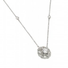 **Closeout** Sterling Silver Rhodium Plated Circle CZ Necklace - BGP00500