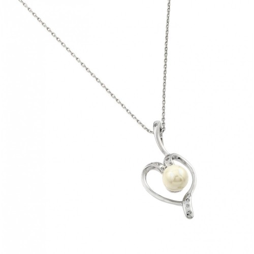 Wholesale Sterling Silver 925 Rhodium Plated Open Heart CZ Center Pearl Necklace - BGP00611