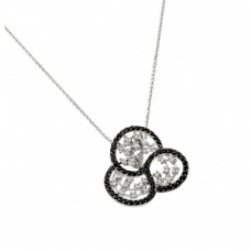 Wholesale Sterling Silver 925 Rhodium Plated Black Outline Flower Clear Filigree CZ Necklace - BGP00620
