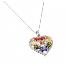 **Closeout** Sterling Silver Rhodium Plated Multicolor CZ Dangling Necklace - BGP00663