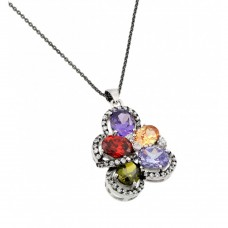 **Closeout** Sterling Silver Rhodium Plated Multicolor Flower CZ Necklace - BGP00705