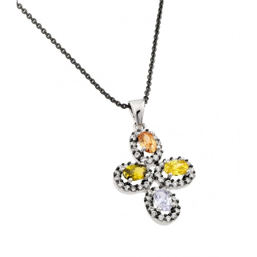 -Closeout- Wholesale Sterling Silver 925 Rhodium Plated Multicolor Flower Black and Clear CZ Necklace - BGP00706
