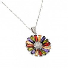 Wholesale Sterling Silver 925 Rhodium Plated Multicolor Teardrop Flower CZ Necklace - BGP00715