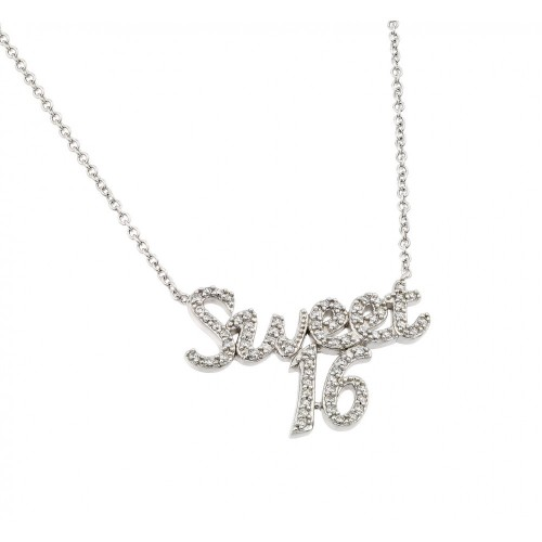 Wholesale Sterling Silver 925 Rhodium Plated Clear CZ Sweet 16 Pendant Necklace - BGP00968