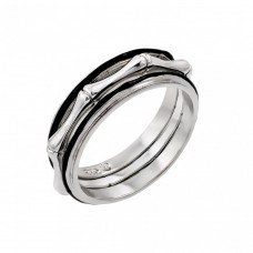 Wholesale Sterling Silver 925 Rhodium and Black Rhodium Plated 2 Toned Bone Eternity Ring - BGR00888BLK