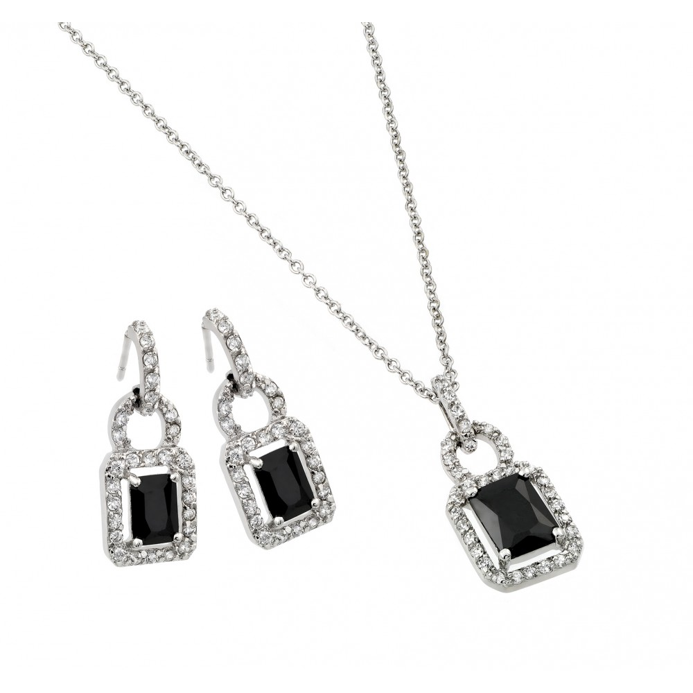 Wholesale Sterling Silver 925 Rhodium Plated Black and Clear Rectangle CZ Hook Earring and Dangling Necklace Set - BGS00026
