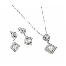Wholesale Sterling Silver 925 Rhodium Plated Clear Diamond Shape Square CZ Dangling Stud Earring and Dangling Necklace Set - BGS00239