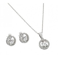 Wholesale Sterling Silver 925 Rhodium Plated Clear Round Open Circle CZ Stud Earring and Dangling Necklace Set - BGS00377