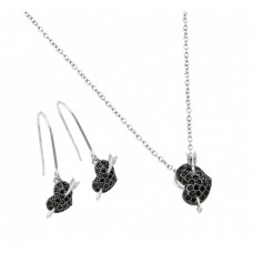 Wholesale Sterling Silver 925 Rhodium and Black Rhodium Plated Black Heart Arrow CZ Hook Earring and Necklace Set - BGS00403