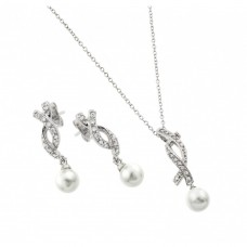 Wholesale Sterling Silver 925 Rhodium Plated Pearl Drop Overlapping Ribbon CZ Hanging Stud Earring and Hanging Necklace Set - BGS00444