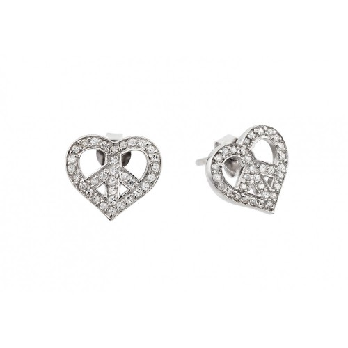 -Closeout- Wholesale Sterling Silver 925 Rhodium Plated Peace Heart CZ Stud Earrings - STE00506