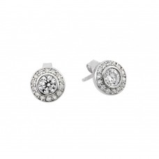 Wholesale Sterling Silver 925 Rhodium Plated Round Clear CZ Stud Earrings - STE00965RH