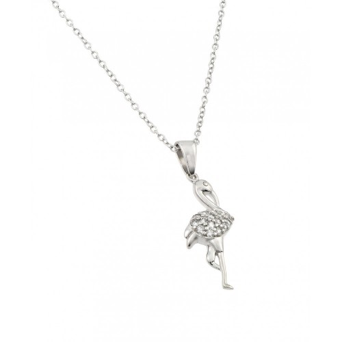**Closeout** Wholesale Sterling Silver 925 Rhodium Plated Clear CZ Flamingo Pendant Necklace - STP00662