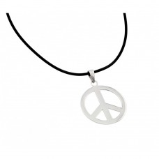 Wholesale Sterling Silver 925 Rhodium Plated Peace Pendant Leather Necklace - STP00861