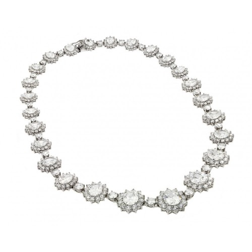 Wholesale Sterling Silver 925 Rhodium Plated Clear CZ Cluster Pendant Necklace - STP00885CLR
