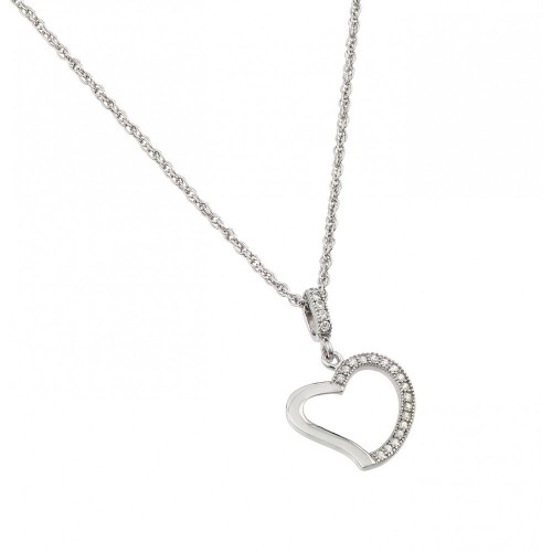 Wholesale Sterling Silver 925 Rhodium Plated Clear CZ Heart Pendant Necklace - STP01365