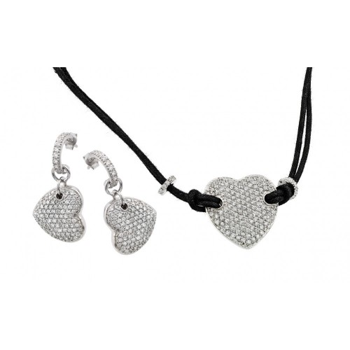 -Closeout- Wholesale Sterling Silver 925 Rhodium Plated Heart CZ Dangling Stud Earring and Black Escape Rope Necklace Set - STS00094