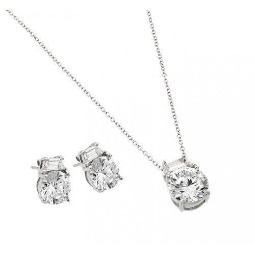 Wholesale Sterling Silver 925 Rhodium Plated Round CZ Stud Earring and Necklace Set - STS00256
