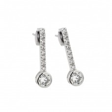 Wholesale Sterling Silver 925 Rhodium Plated Channel Round CZ Stud Earrings - BGE00424