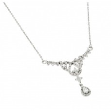 Wholesale Sterling Silver 925 Rhodium Plated Clear CZ Pear Shape and Cross Pendant Necklace - BGP00954