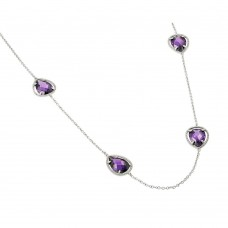 Wholesale Sterling Silver 925 Rhodium Plated Clear CZ Purple Pear Shape Pendant Necklace - BGP00970PUR