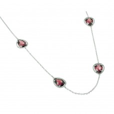 Wholesale Sterling Silver 925 Rhodium Plated Clear CZ Red Pearl Shape Pendant Necklace - BGP00970RED
