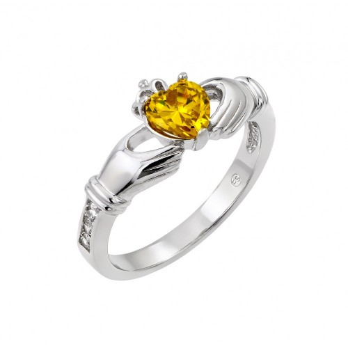 Wholesale Sterling Silver 925 Rhodium Plated Yellow Heart CZ Claddagh Ring - BGR00491YEL