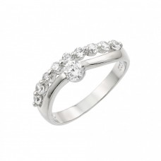 Wholesale Sterling Silver 925 Rhodium Plated Round Clear CZ 2 Row Ring - BGR00876