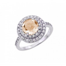 Wholesale Sterling Silver 925 Rhodium Plated Champagne Center and Clear Cluster CZ Ring - BGR00886CHP