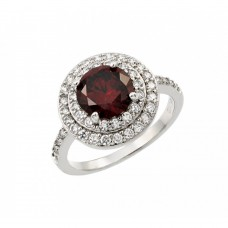 Wholesale Sterling Silver 925 Rhodium Plated Red Center and Clear Cluster CZ Ring - BGR00886RED