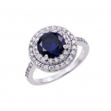 Wholesale Sterling Silver 925 Rhodium Plated Blue Center and Clear Cluster CZ Ring - BGR00886TAN