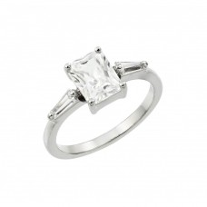 Wholesale Sterling Silver 925 Rhodium Plated Clear Rectangular Center CZ Ring - BGR00889