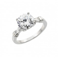 Wholesale Sterling Silver 925 Rhodium Plated Clear Round Center CZ Bridal Engagement Ring - BGR00890