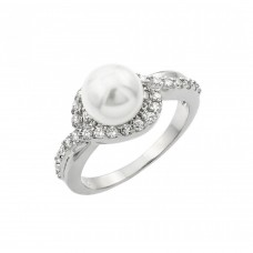 Sterling Silver Rhodium Plated Clear Cluster CZ Synthetic Pearl Ring - BGR00910