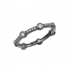Wholesale Sterling Silver 925 Oxidized Rhodium Plated Round Clear CZ Eternity Ring - BGR00916