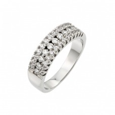 Wholesale Sterling Silver 925 Rhodium Plated Clear Pave Set CZ Half Ring - BGR00918