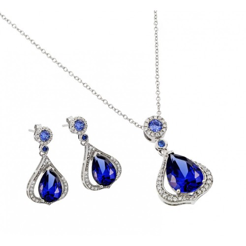 Wholesale Sterling Silver 925 Rhodium Plated Clear and Blue Teardrop CZ Dangling Stud Earring and Dangling Necklace Set - BGS00440