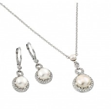 Wholesale Sterling Silver 925 Rhodium Plated Halo Fresh Water Pearl Center Leverback Earring Necklace Set - BGS00446