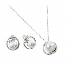 Wholesale Sterling Silver 925 Rhodium Plated Pearl Winding Wrap Single Clear CZ Stud Earring and Necklace Set - BGS00447