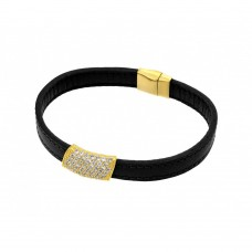 Wholesale Sterling Silver 925 Gold Plated Clear Micro Pave CZ Black Leather Bracelet - ECB003GP