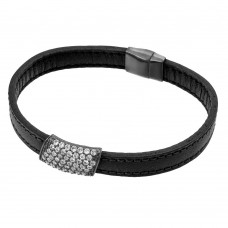 Sterling Silver Black Rhodium Plated Clear Micro Pave CZ Leather Bracelet ECB004BLK